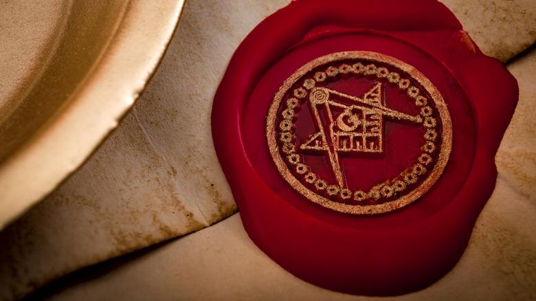 Red Freemason seal