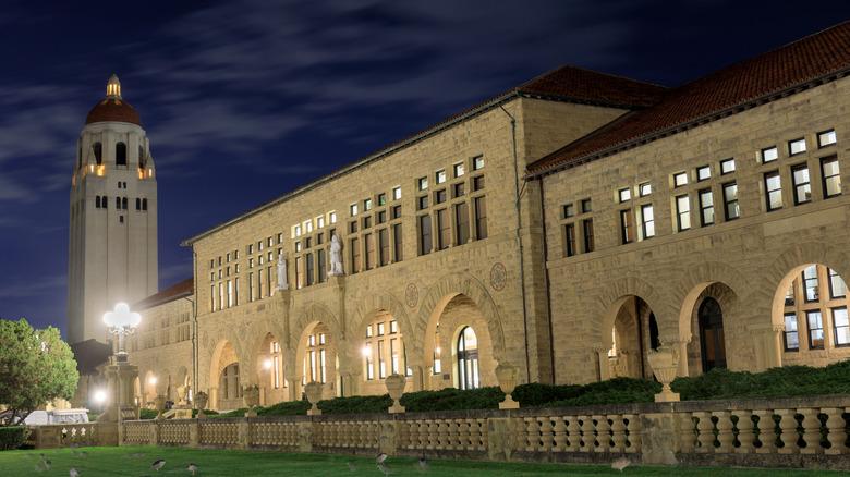 Stanford University campus at night