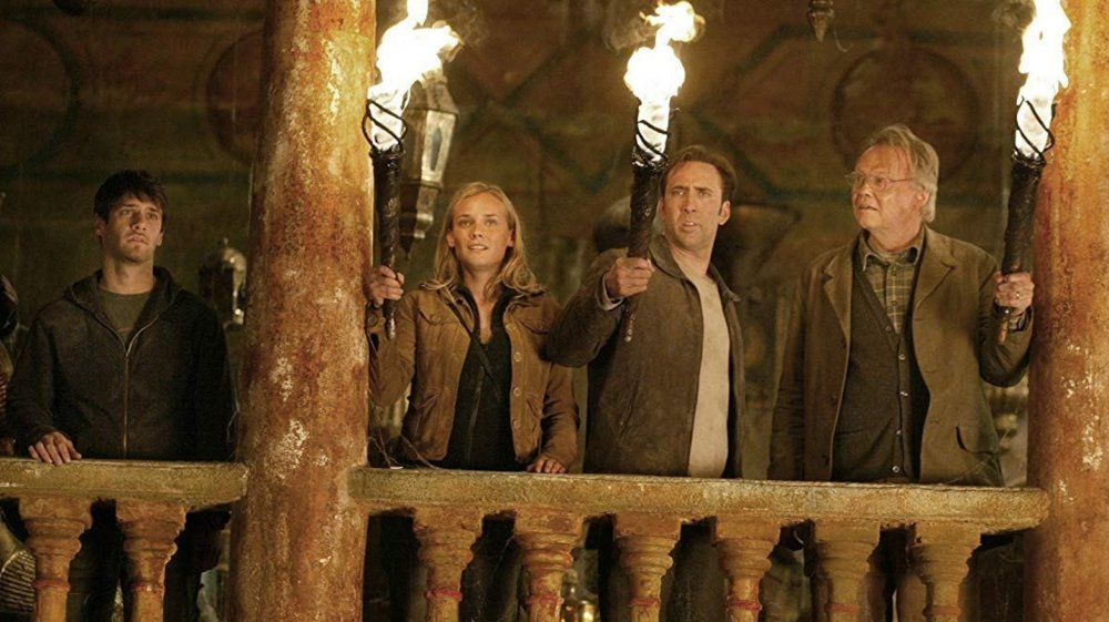 Justin Bartha as Riley, Diane Kruger as Abigail, Nicolas Cage as Ben and Jon Voight as Patrick in National Treasure