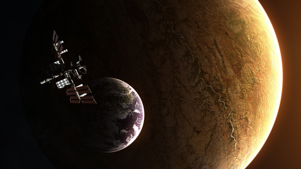 Exoplanet with moon and space station