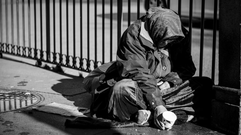 homeless poor person