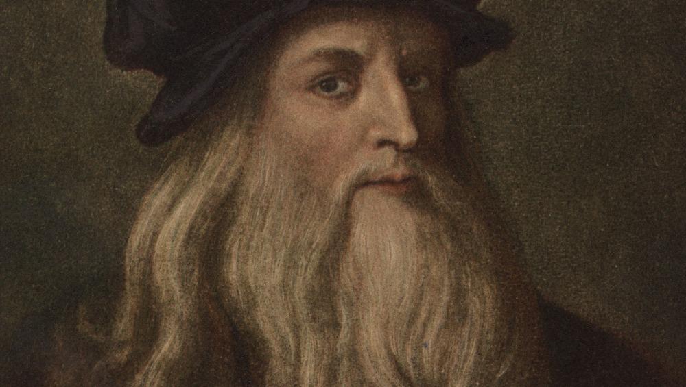 Portrait of Leonardo da Vinci looking concerned