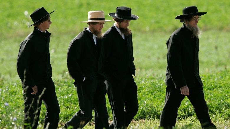 Amish men walking in a field