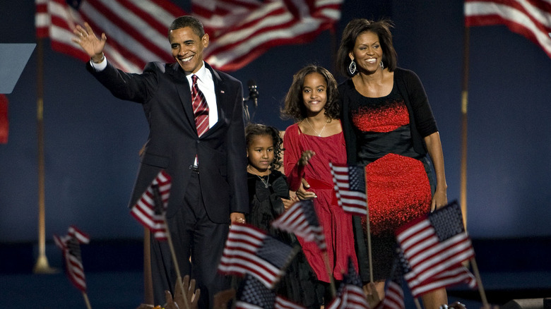 Obamas and daughters at inauguration