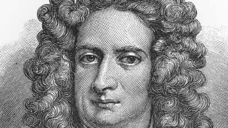 Isaac Newton face close-up portrait