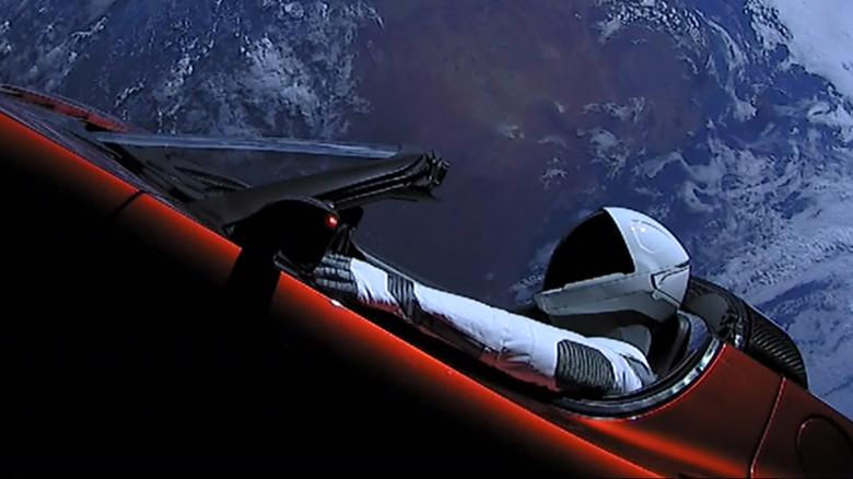Tesla automobile heading toward Mars