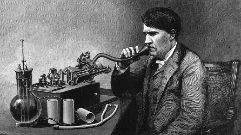 Thomas Edison speaks into apparatus