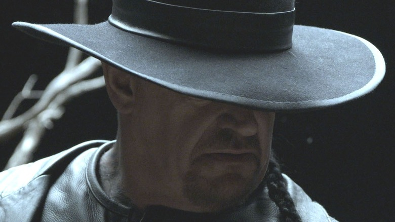 The Undertaker scowling