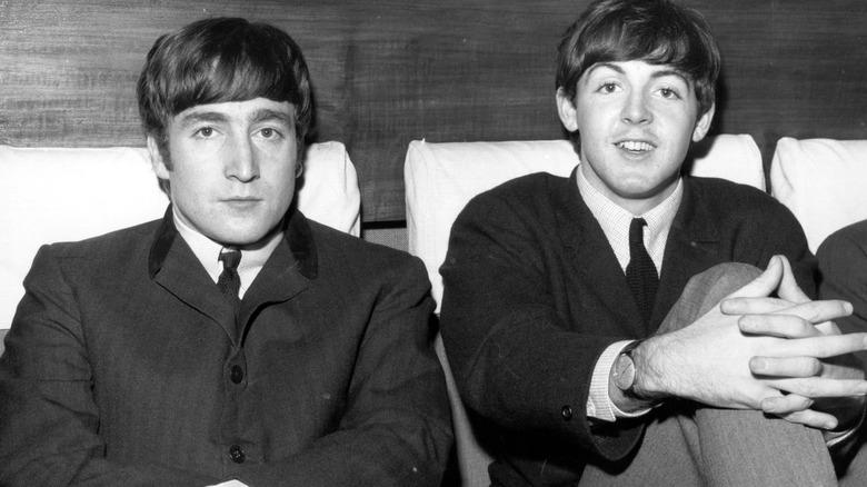 John Lennon and Paul McCartney posing