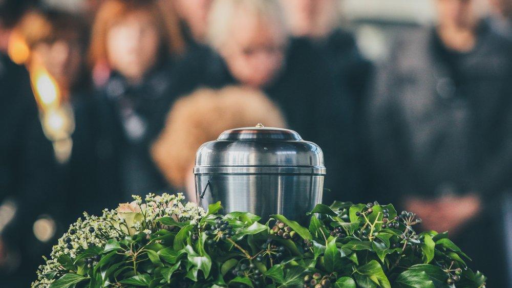 An urn at a funeral