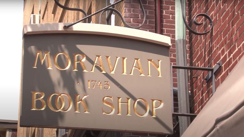 Moravian Book Shop sign