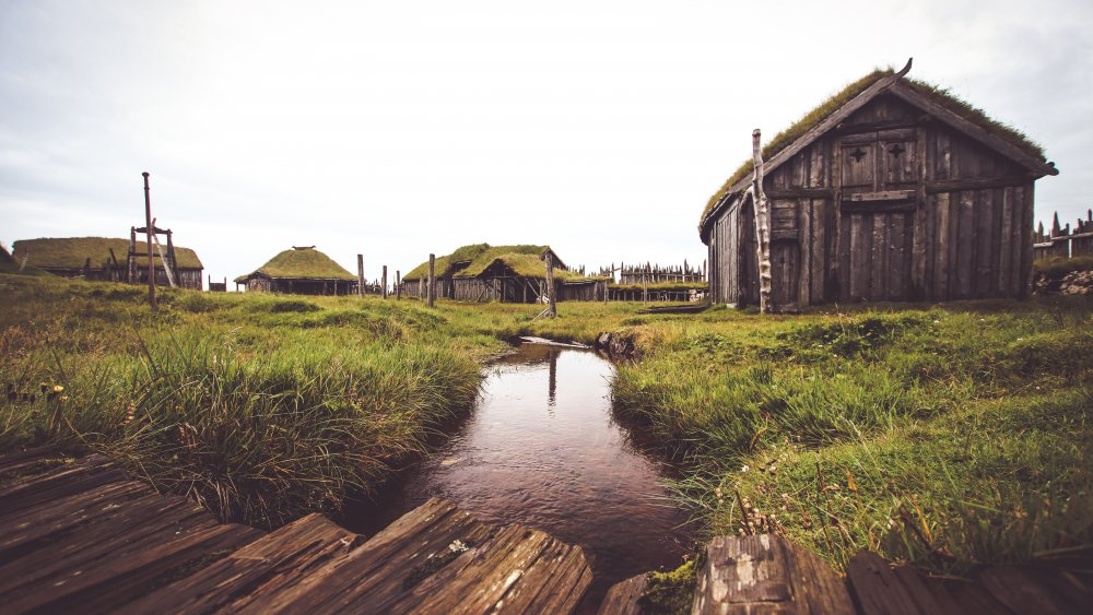 An unused movie set for a viking village in Iceland.