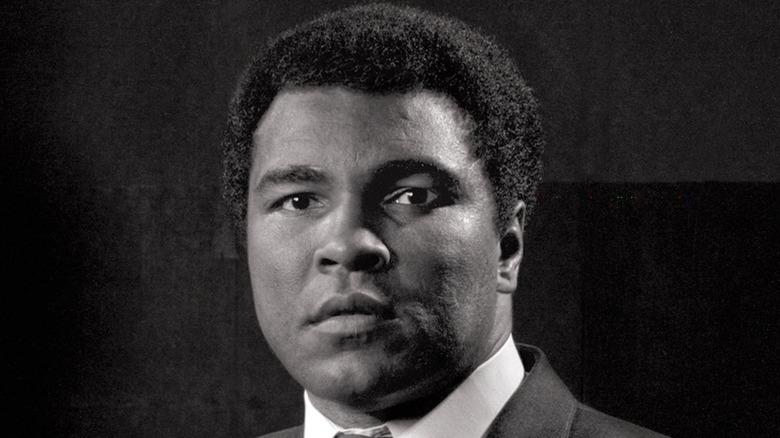 Muhammad Ali posing for B&W photo