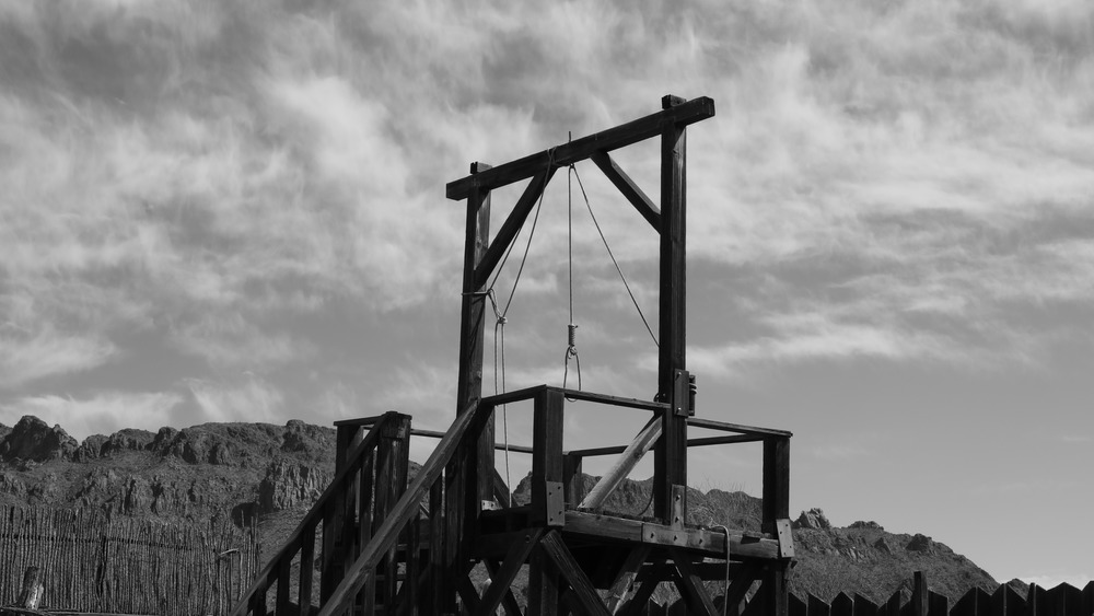 Wooden gallows black and white