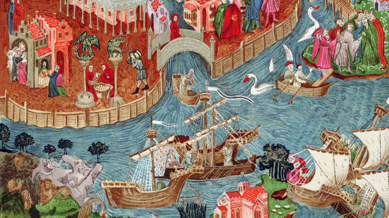 drawing of Marco Polo setting sail from Venice to travel the Silk Road