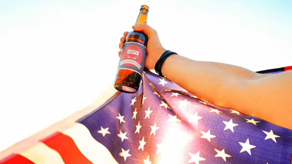 American flag with beer