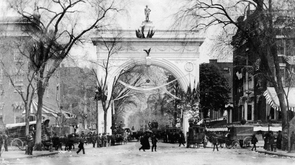 Washington Square Park during the celebration of the centennial of George Washington's inauguration, New York, New York, April 30, 1889.