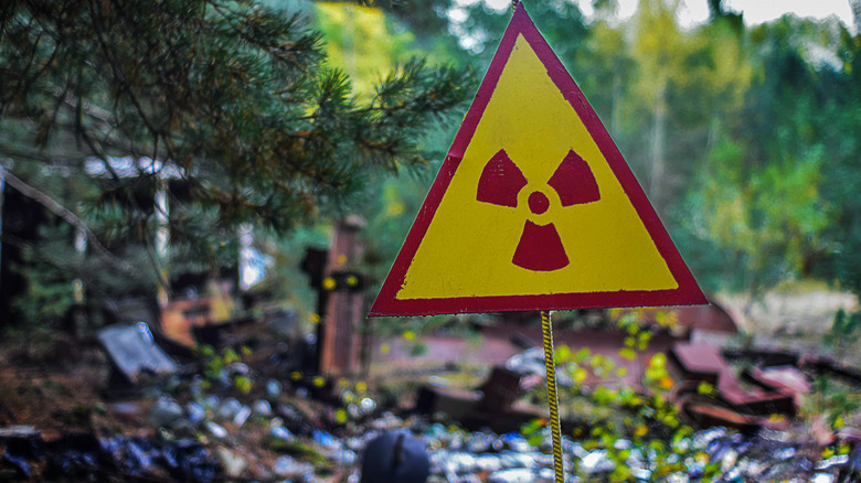 Caution sign for radiation