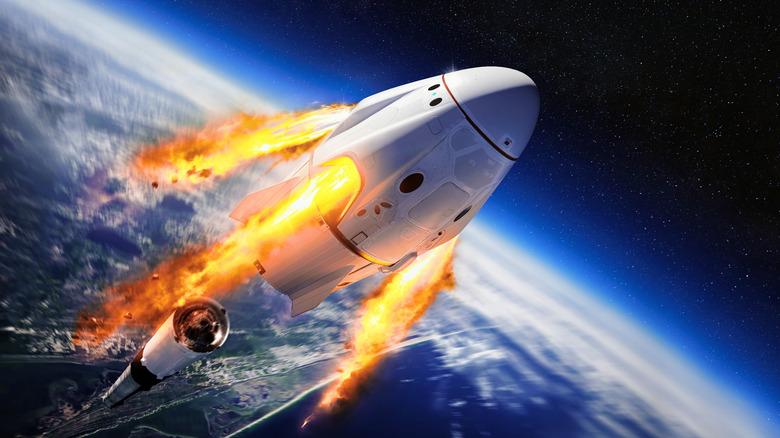 a spacecraft blasting off