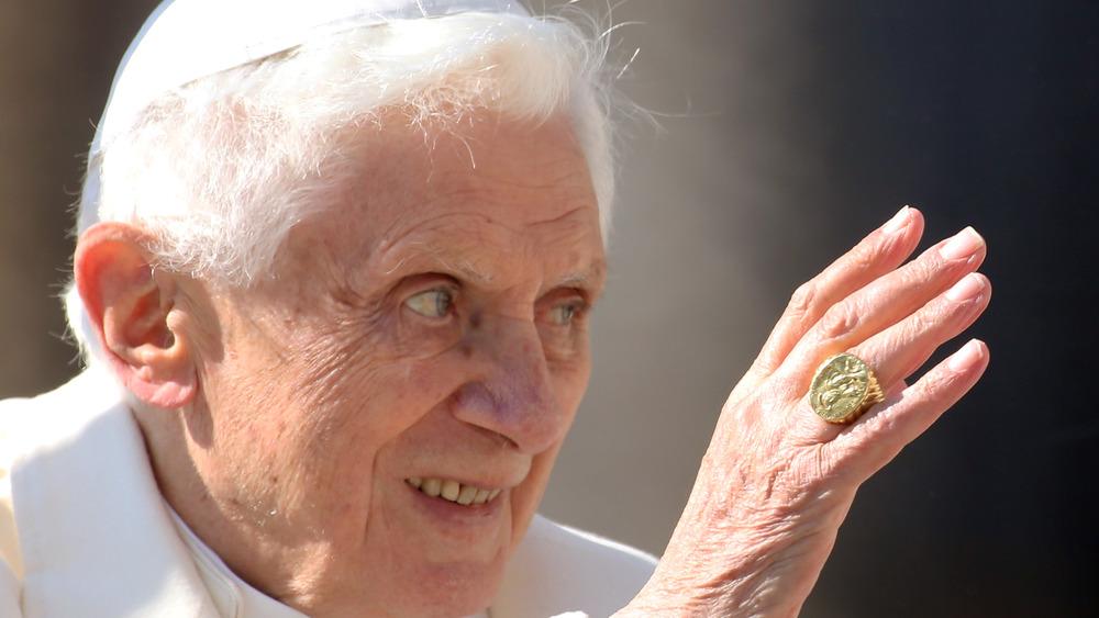 Pope Benedict XVI waves