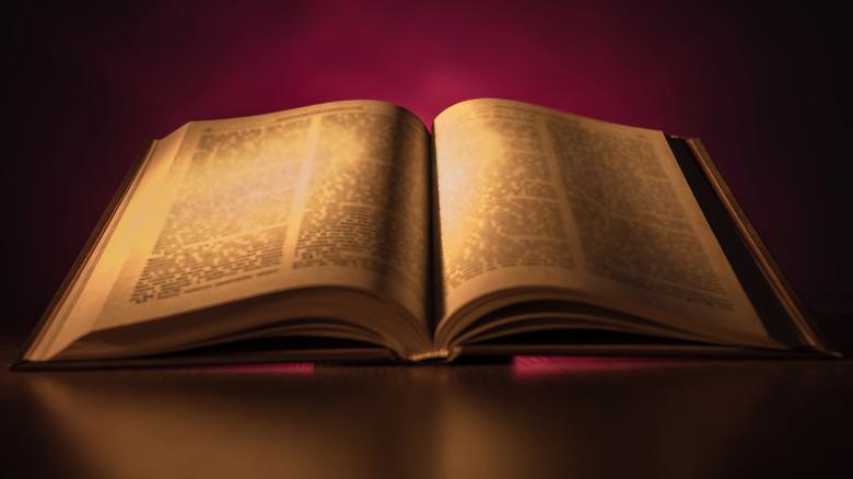 open bible on dark background