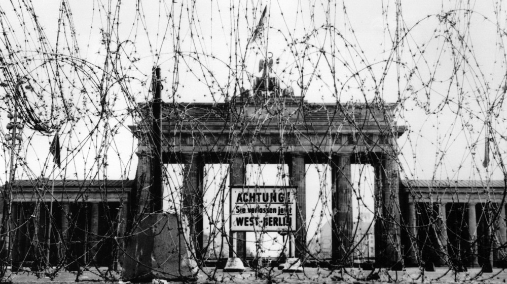 Barbed wire in front of the Brandenburg Gate in Berlin