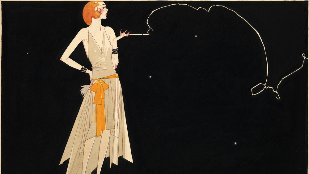 illustration of a fashionably dressed flapper standing