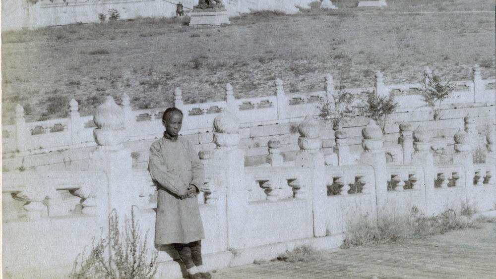 A man standing within the Forbidden City in front of the palace