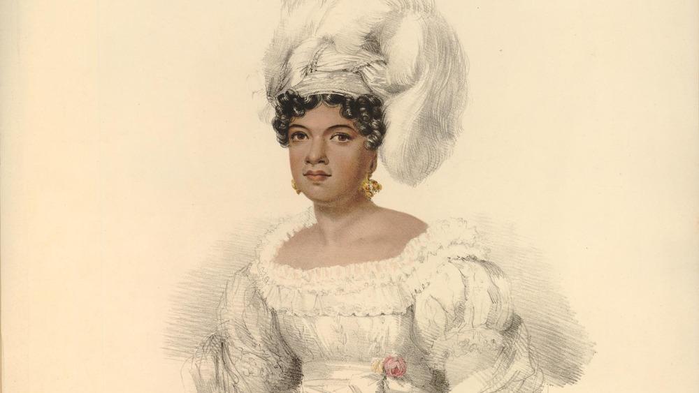 Portrait of Kamamalu, wearing feathered hat
