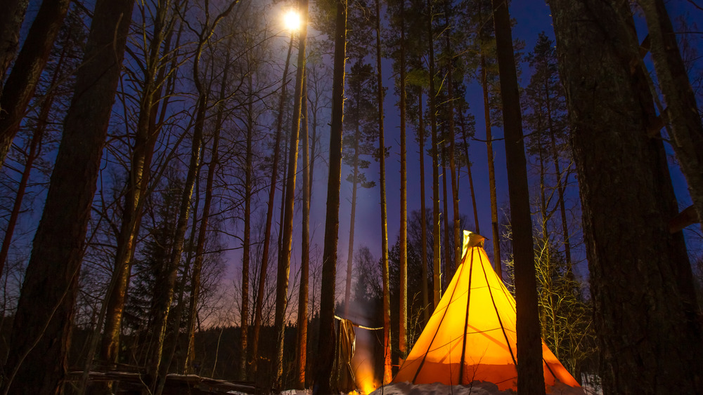 Lit teepee in a forest