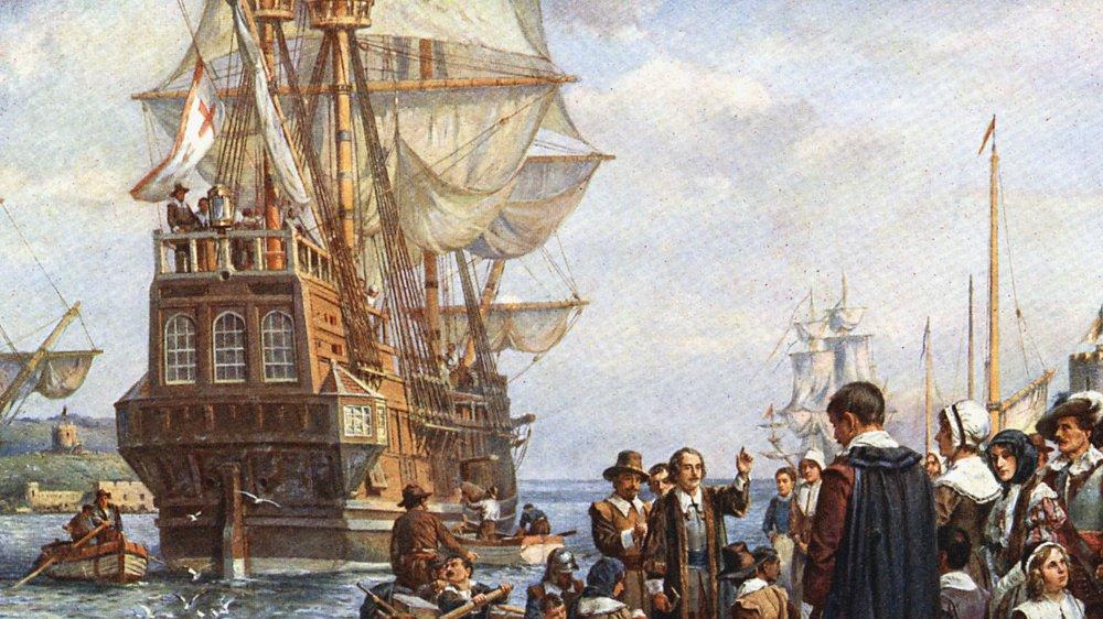 Pilgrims boarding the Mayflower