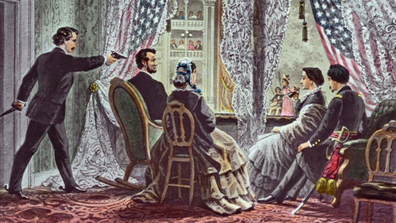 """4""""x3"""" slide depicting John Wilkes Booth leaning forward to shoot President Abraham Lincoln as he watches Our American Cousin at Ford's Theater in Washington, D.C. 14 April 1865."""