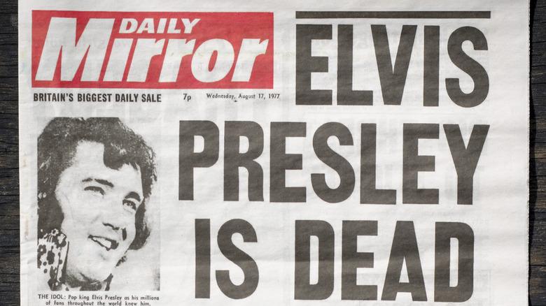 A newspaper announcing Elvis' death
