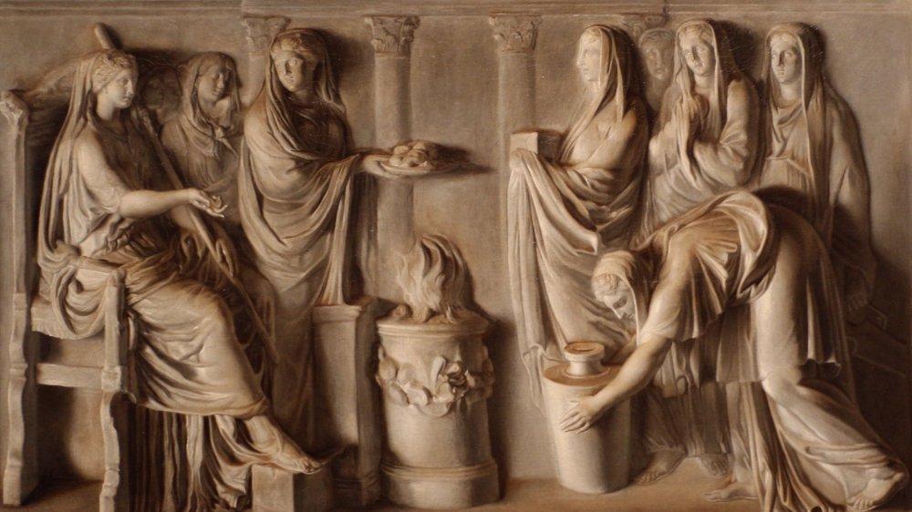Carved relief of Vestal Virgins, Art Institute of Chicago