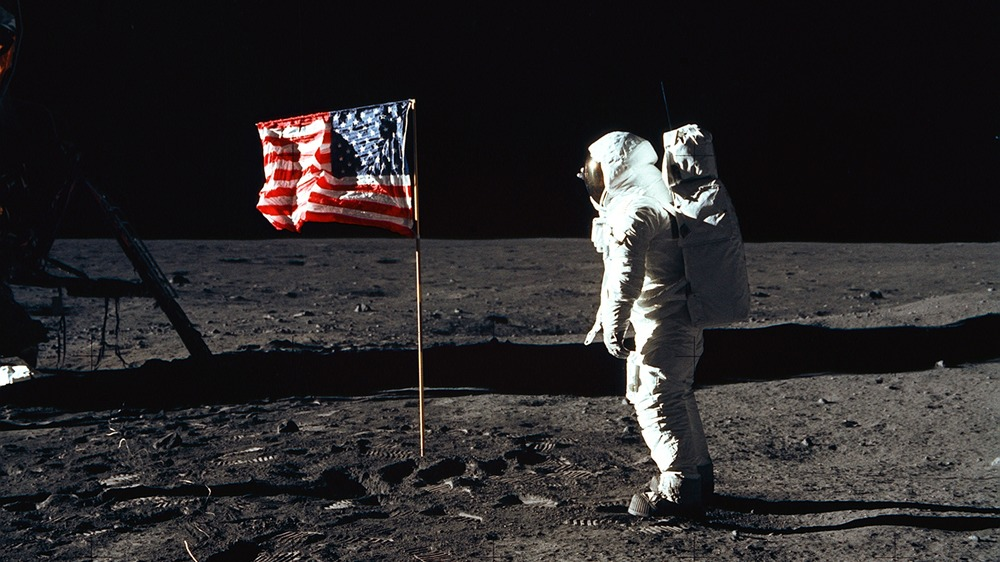 One of the first astronauts on the moon
