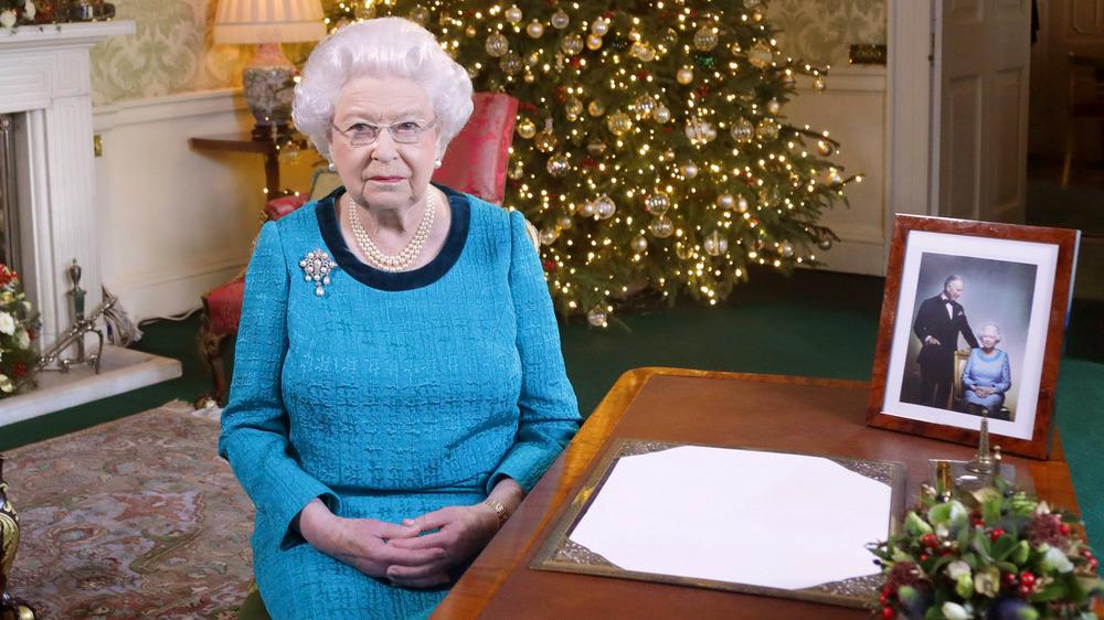 Queen Elizabeth II after recording her 2014 Christmas Day broadcast