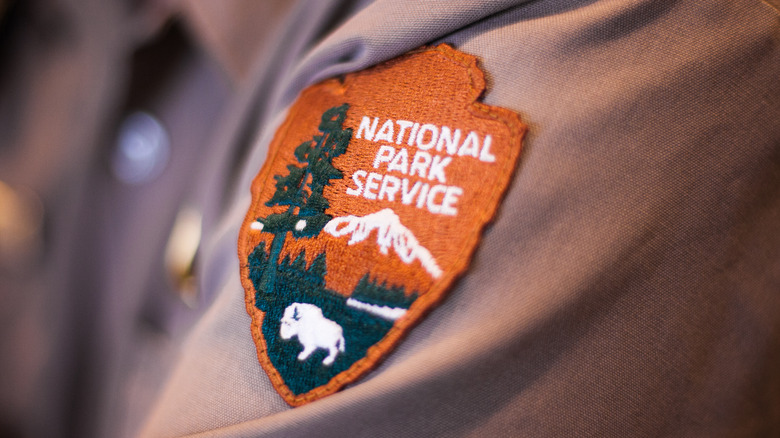 Shenandoah National Park, Badge with the Logo of the National Park Service on a Shirt of a Ranger