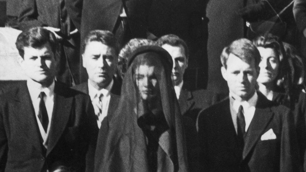 Senator Edward Kennedy, Caroline Kennedy, Jackie Kennedy, Attorney General Robert Kennedy and John Kennedy Jr. at the funeral of President John F. Kennedy, November 25, 1964