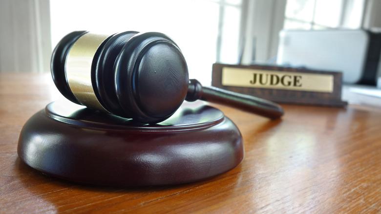 gavel and judge nameplate