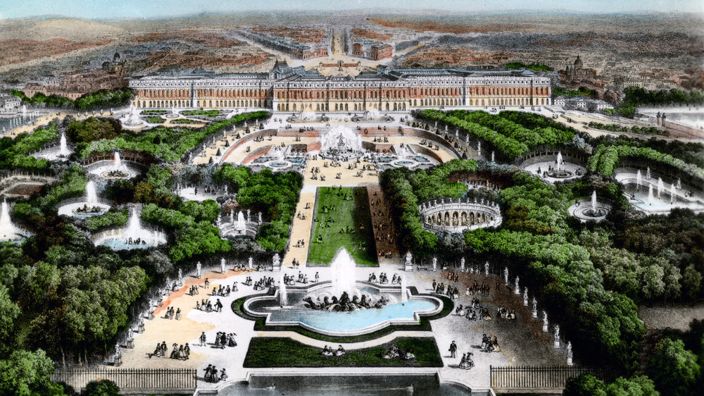 Drawing of aerial view of Versailles