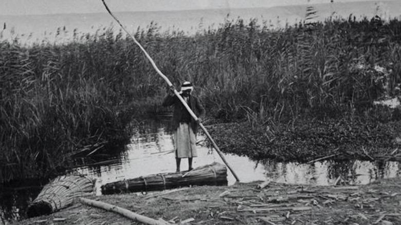 Man on raft at Hula Valley 1926