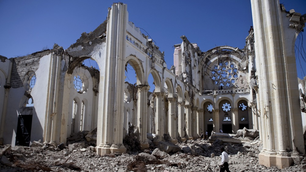 The remains of the National Cathedral January, 2011 in Port-au-Prince, Haiti.