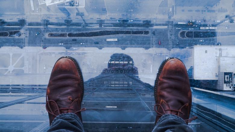 View from glass bottom skyscraper