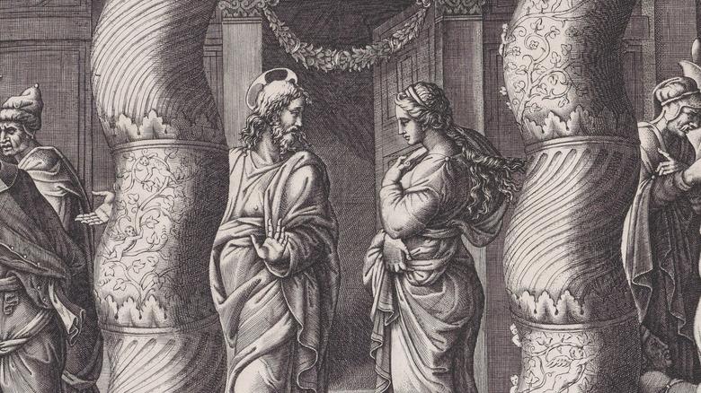 Illustration of Jesus and adulterer