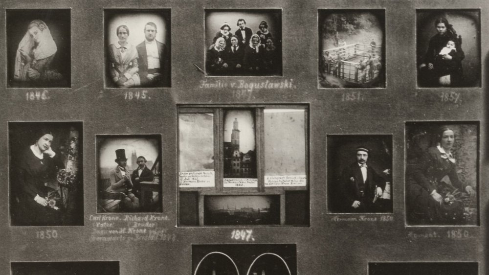 Daguerreotype tableau with photos from the years 1845-1857