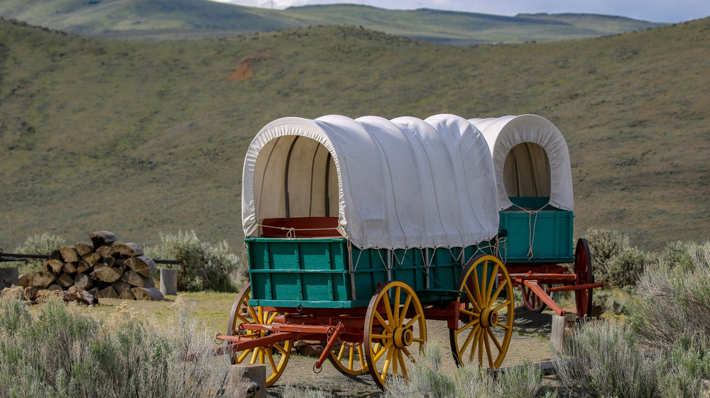oregon trail wagons in front of hillside