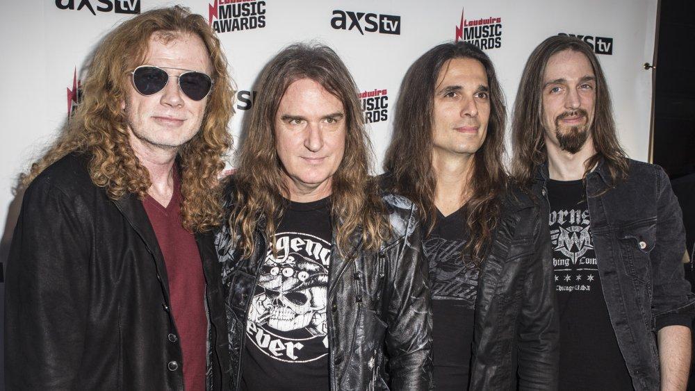 Dirk Verbeuren, David Ellefson, Dave Mustaine, and Kiko Loureiro of the band Megadeth