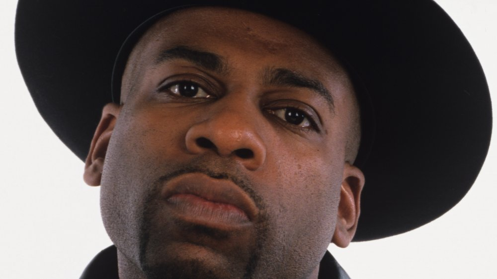 A close-up shot of Jam Master Jay staring into the camera