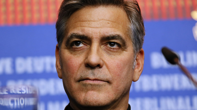 George Clooney close up face thoughtful expression