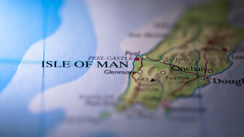 The Isle of Man on a map